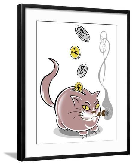 Fat cat piggy bank - allegorical illustration of financial crisis-Neale Osborne-Framed Giclee Print