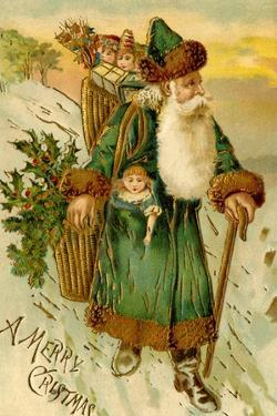 Father Christmas Dressed in Green Carrying Baskets of Toys and Holly, Beatrice Litzinger Collection