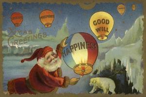 Father Christmas Setting Off Balloons