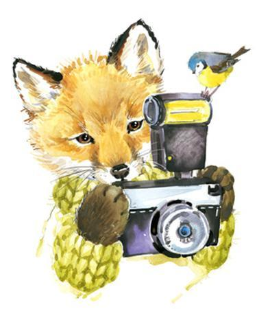 Cute Little Fox. Watercolor Fox. Fox. Fox T-Shirt Graphics, for Fashion Print, Poster for Textiles, by Fayankova Alena
