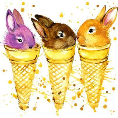 Funny Rabbit and Ise Cream Watercolor Illustration by Fayankova Alena
