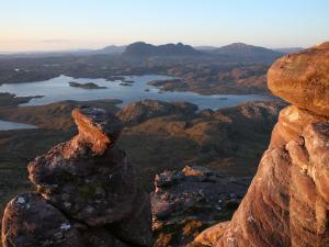 Inverpolly Nature Reserve and Suilven Mountain from Stac Pollaidh Mountain in Sutherland by Feargus Cooney