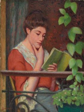 Reading Al Fresco - Woman on the Balcony; Lettura Al Fresco - Donna Al Balcone by Federigo Zandomeneghi