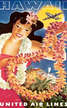 Hawaii, United Air Lines, Hawaiian Girl with Leis, c.1949