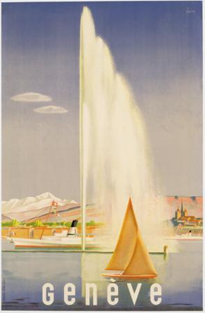 Advertisement for Travel to Geneva, C.1937 (Colour Litho) by Fehr