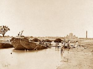 Bridge of Boats over the Gomptee, Lucknow by Felice Beato