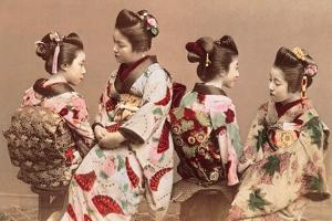 Felice Beato, Japanese Girls in Traditional Dresses, 1863-1877. Brera Gallery, Milan, Italy by Felice Beato
