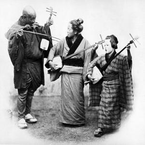 Japanese Musicians, C.1860s by Felice Beato
