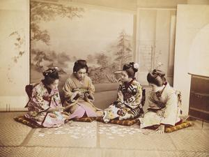 Japanese Women Playing Cards, C.1867-90 by Felice Beato