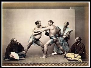 Sumo Wrestlers, c.1870-80 by Felice Beato