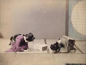 Two Japanese Women Presenting and Accepting a Gift, C.1867-90 by Felice Beato