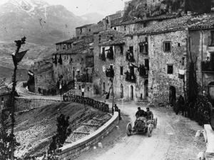 Felice Nazzaro Driving Through Pettralia Sottana in a Fiat, in the Targa Florio Race, Sicily, 1907