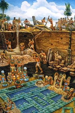Olmec Indians Bury a Newly Created Tile Mosaic of Serpentine Blocks by Felipe Davalos