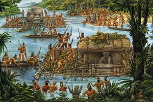 Olmecs Use the River for Transportation of Sculptures and Other Goods by Felipe Davalos