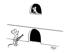 A mouse serenades his sweetheart as she looks down from a balcony shaped l… - New Yorker Cartoon by Felipe Galindo