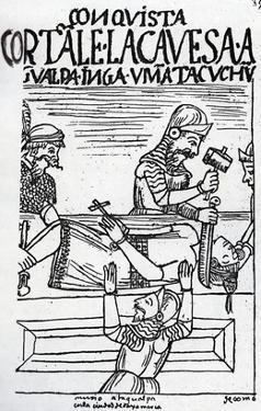 The Execution of the Inca King Atahualpa (Woodcut) by Felipe Huaman Poma De Ayala