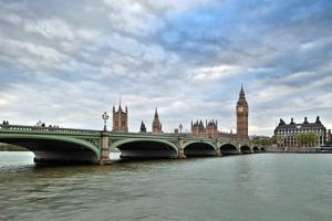 Westminster Bridge over the Thames with the Big Ben and the City of Westminster on the Background by Felipe Rodriguez