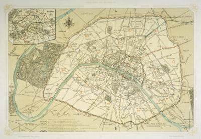 Map Showing the Growth of Paris from Its Earliest Origins to the Latest Projects Under Napoleon III by Felix Benoist