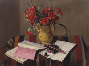 Carnations and Account Books, 1925 by Felix Edouard Vallotton