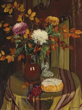 Chrysanthemums and Autumn Foilage; Chrysanthemes Et Feuillage D'Automne, 1922 by Felix Edouard Vallotton