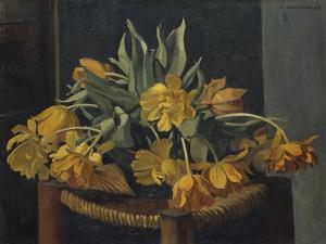 Double Yellow Tulips on a Wicker Chair, 1923 by Felix Edouard Vallotton