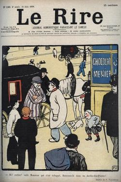 Hey! Coach! Cover of the newspaper Le Rire, of June 23, 1898 drawing by Felix Vallotton by Felix Edouard Vallotton