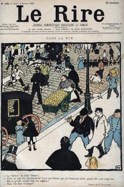 In the street - Cover of the newspaper Le Rire, of January 6, 1898 drawing by Felix Vallotton by Felix Edouard Vallotton