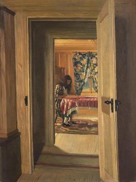 Interior with a Young Girl Writing; Interieur, Jeune Fille Ecrivant, 1905 by Felix Edouard Vallotton