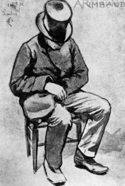 Arthur Rimbaud (1854-91) Slumped on a Chair and Dozing, in London, 1872 by Felix Elie Regamey