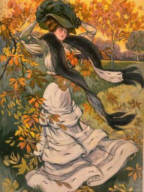 Autumn Cover of French Periodical Les Modes Showing Fashionable Woman Alone in Park by Felix Fournery
