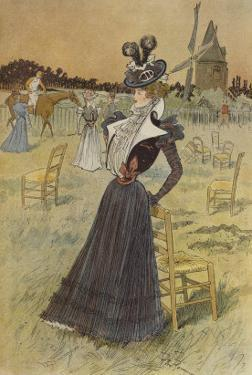 Fashion Plate, at Longchamp, Illustration from 'La Nouvelle Mode', 1897 by Felix Fournery