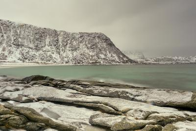 Haukland Beach in the Lofoten Islands, Norway in the Winter at Dusk