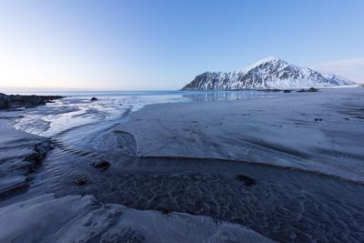Skagsanden Beach in the Lofoten Islands, Norway in the Winter at Dusk