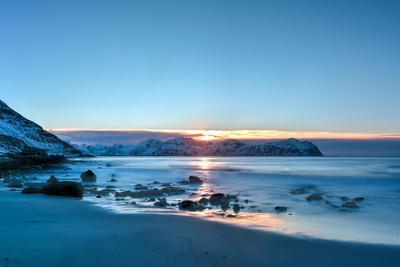 Vikten Beach in the Lofoten Islands, Norway in the Winter at Sunset