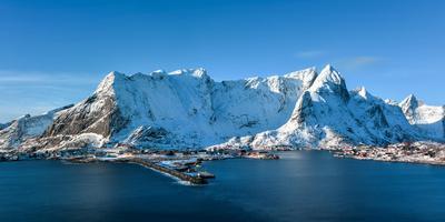 Winter in Olenilsoya in Reine, Lofoten Islands, Norway