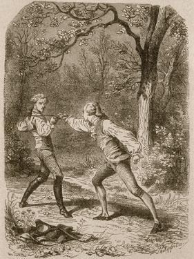 Comment deux amis deviennent ennemis (Duel between Philippe de Taverney and Charny) by Félix Philippoteaux