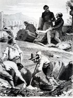 The Excavations at Torre Vergata, from 'Memoires D'Outre-Tombe' by Chateaubriand, 1850 (Litho) by Felix Philippoteaux