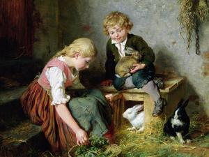 Feeding the Rabbits by Felix Schlesinger