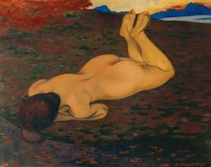 Baigneuse ou La Source - 1899 Canvas. by FELIX VALLOTTON