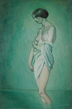 Bather in Profile, Effect of Green and Pink, 1918 by Félix Vallotton