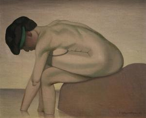 Bather Sitting on a Rock by Félix Vallotton