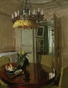 Interior Dining Room with Bouquet of Flowers by Félix Vallotton