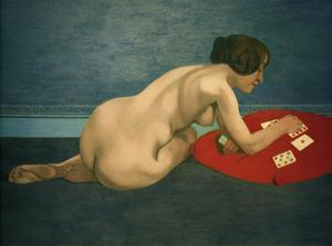 Nude Playing Solitaire by Félix Vallotton
