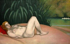 Nude Sleeping by the River Bank by Félix Vallotton