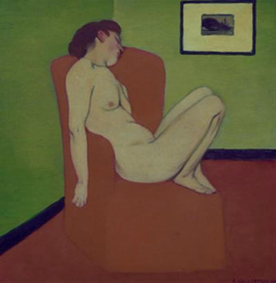 Nude Woman Sitting on a Chair by Félix Vallotton