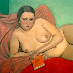 Reclining Nude Holding A Book by Félix Vallotton