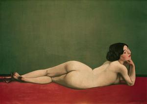 Reclining Nude on Red by Félix Vallotton