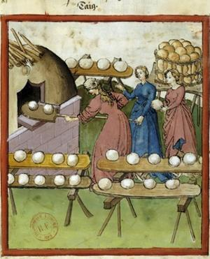 Female Bakers Making Bread - 14Th Cent. Illumination