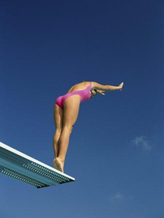 Female Diver in Pink Bathing Suit