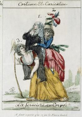 Female French Peasant Carry the Burden of the Women of the Church and Nobility, Late 18th Century